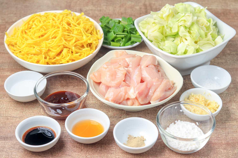 Shanghai stir fry ingredients.