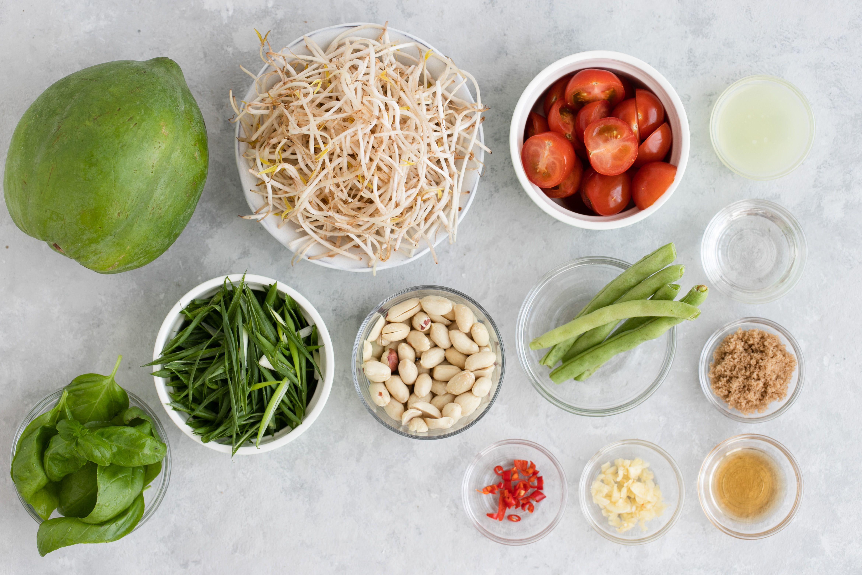 Ingredients for Som Tam Thai Green Papaya Salad