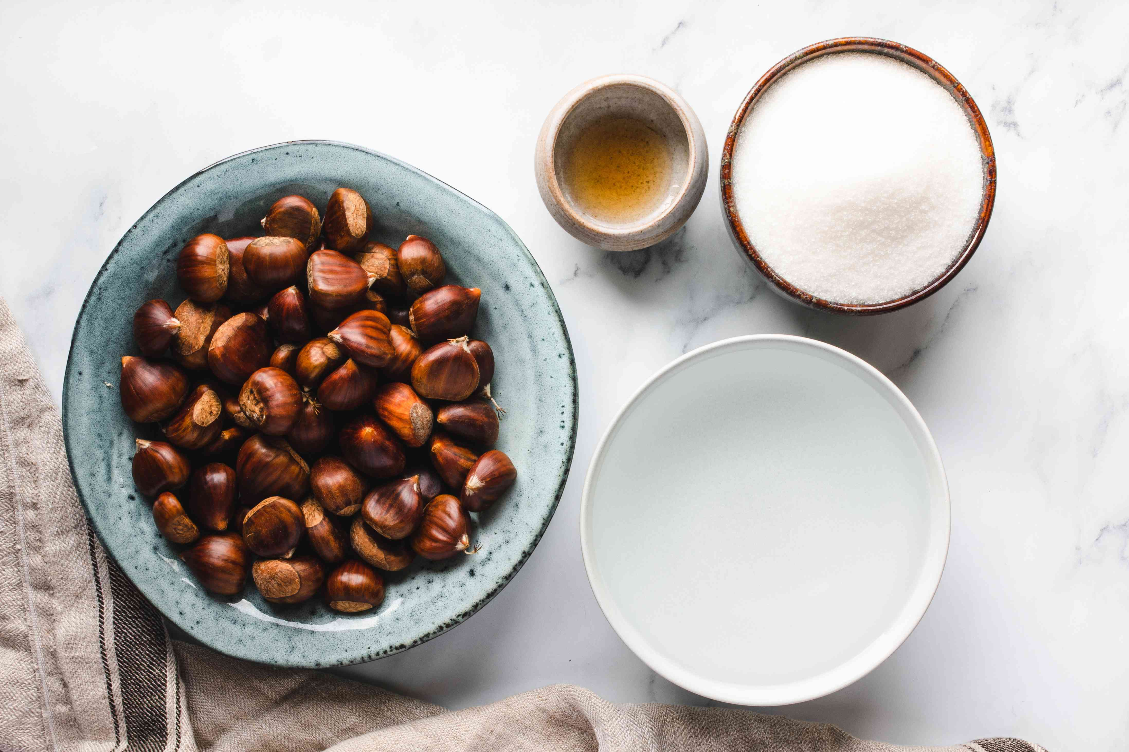 Ingredients for marron's glacé candied chestnuts