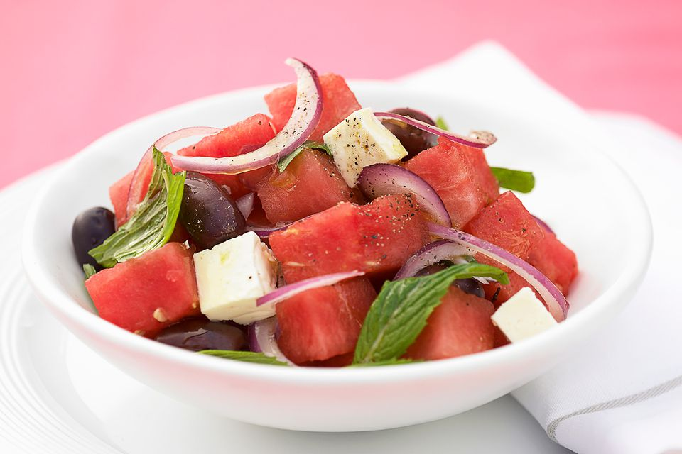Watermelon and feta salad with mint