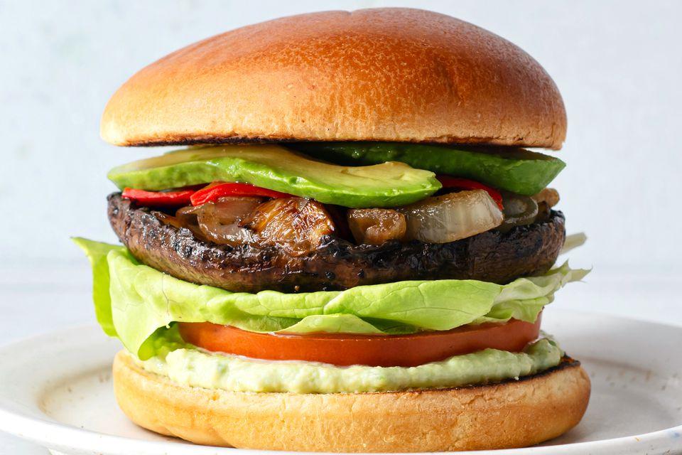 Vegetarian Portobello Mushroom and Avocado Burger