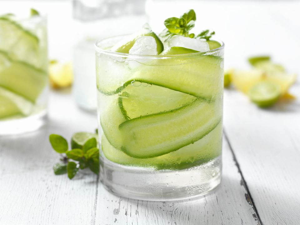 Enjoy the clean, crisp taste of a cucumber cocktail.