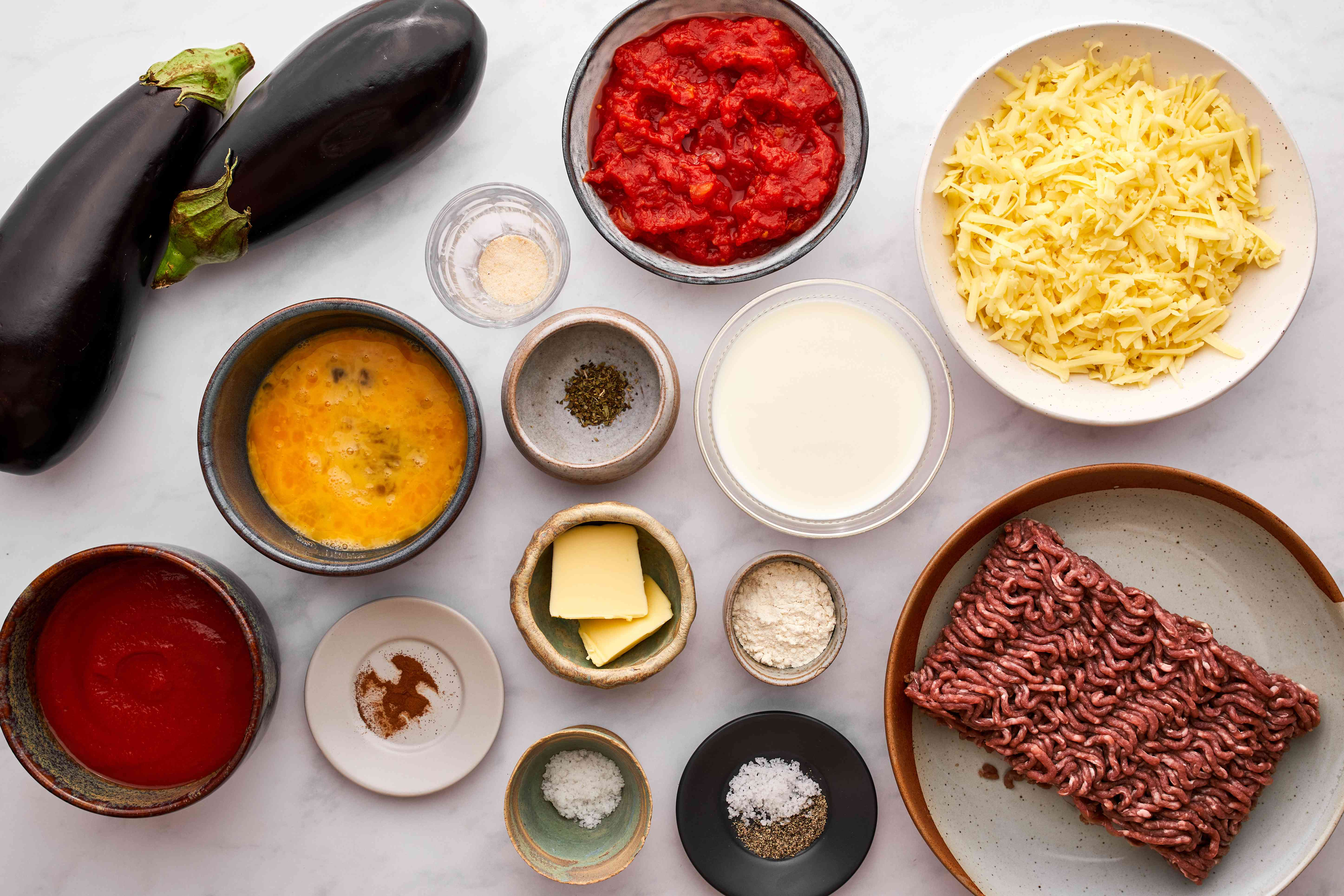 Moussaka - Eggplant With Ground Beef (or Lamb) and Cheese ingredients