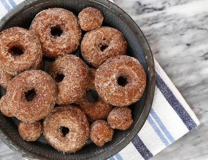 Apple cider donuts with cinnamon sugar coating