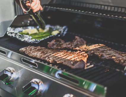 Steak on gas grill