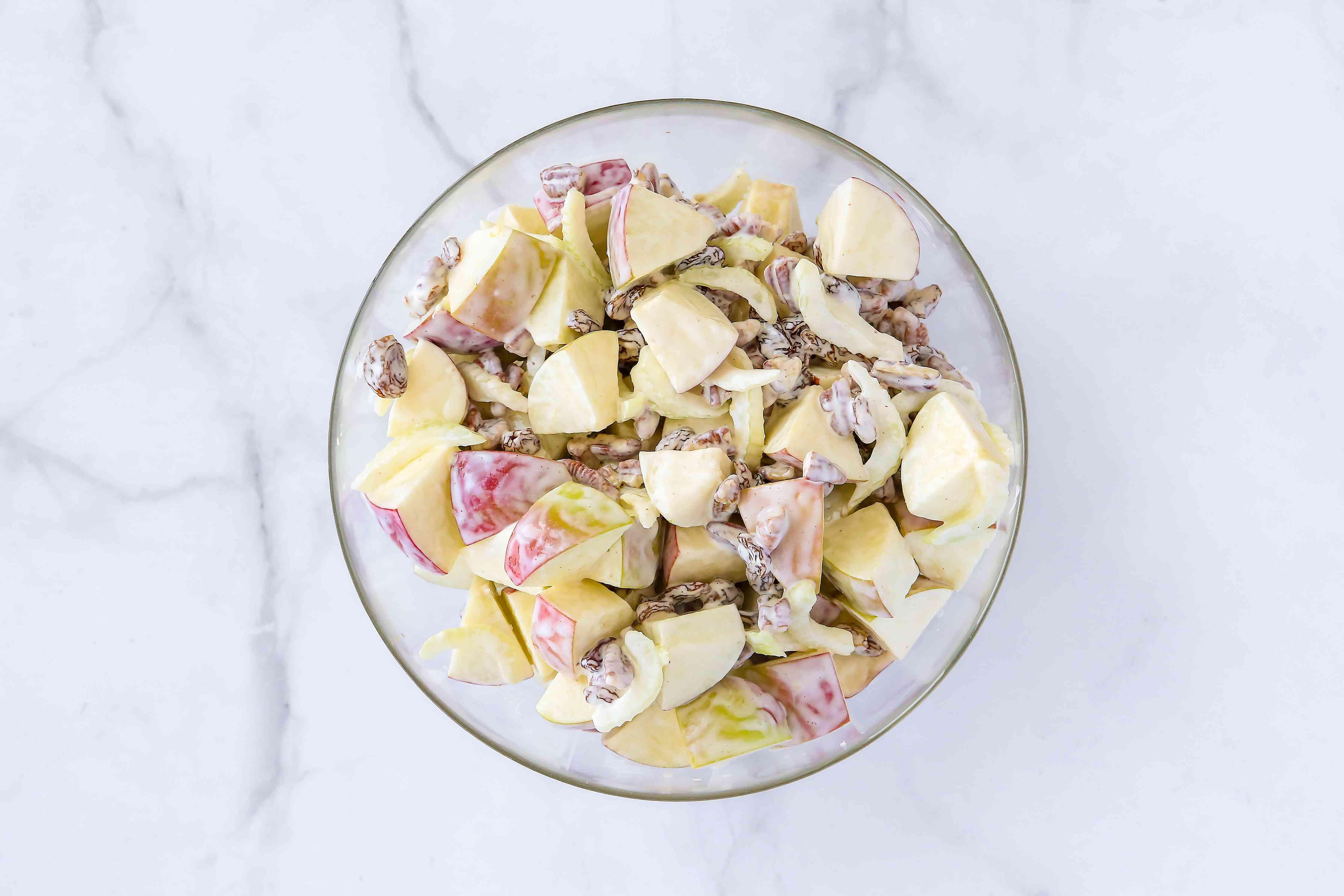 Apple salad ingredients in a bowl
