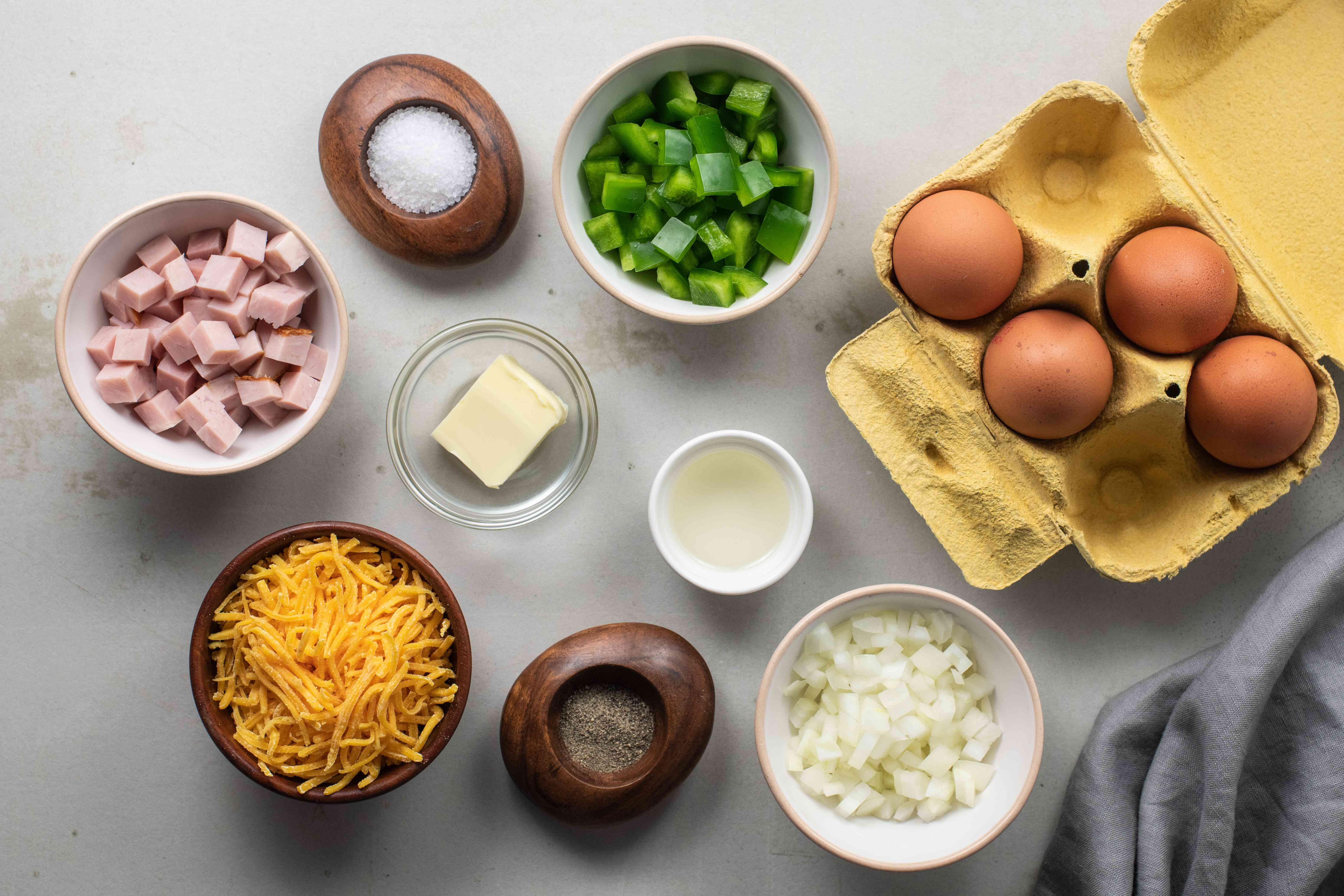 Ingredients for Denver omelet