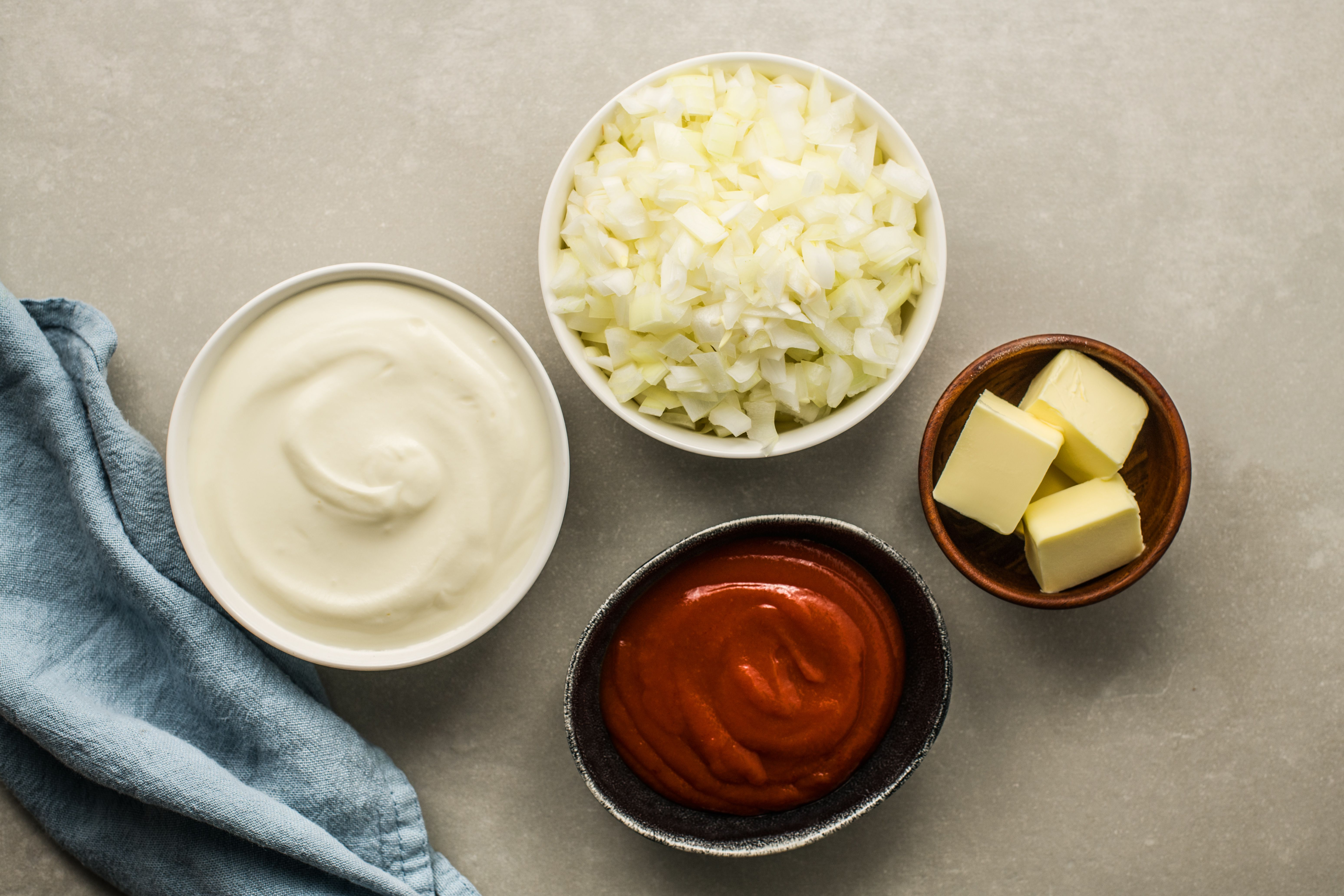 Ingredients for soubise sauce