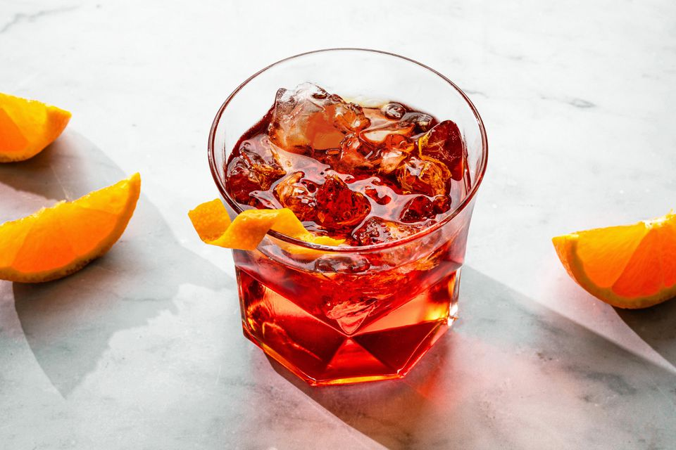 Negroni cocktail recipe in a glass