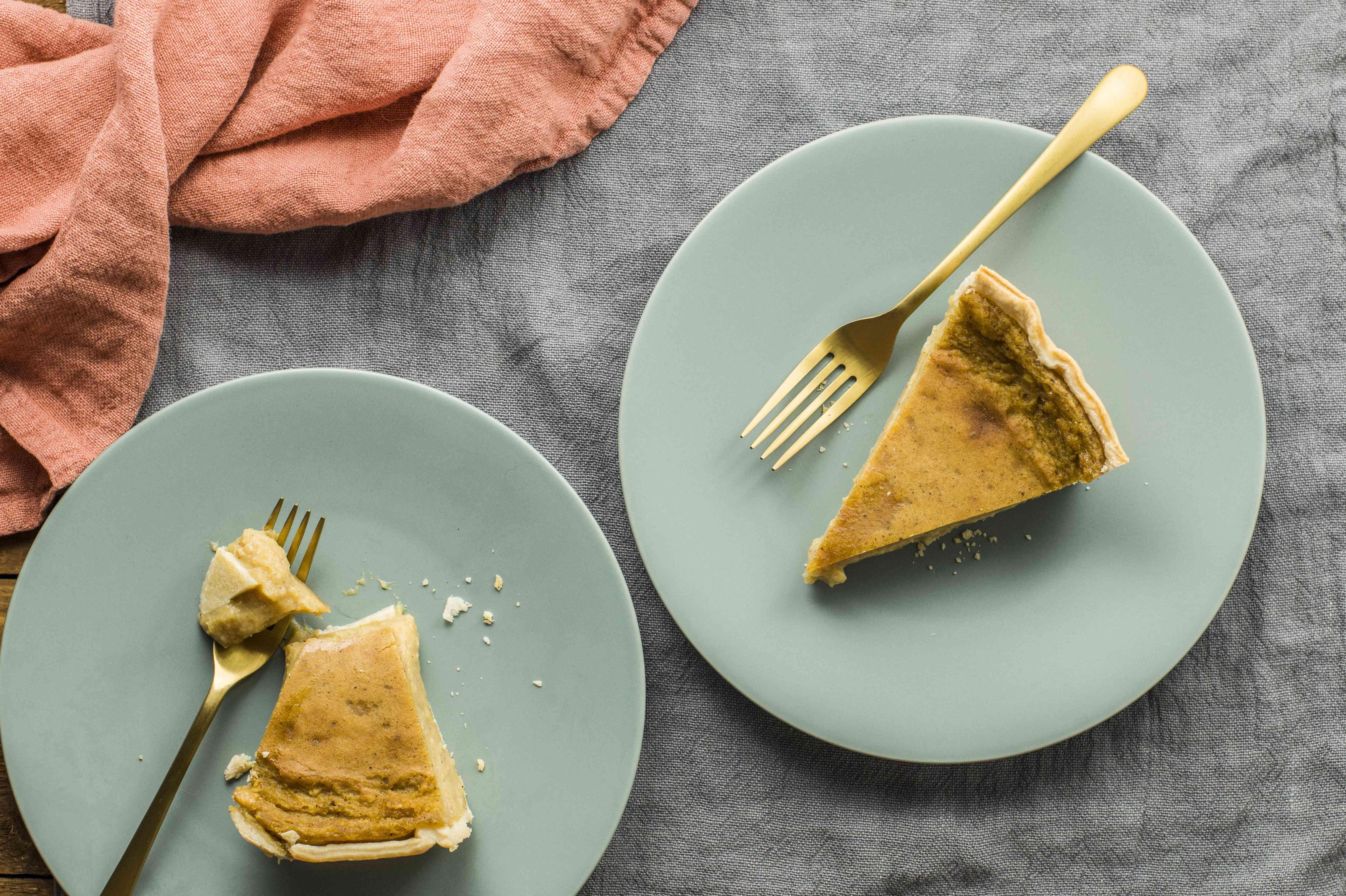 Pie slices on plates