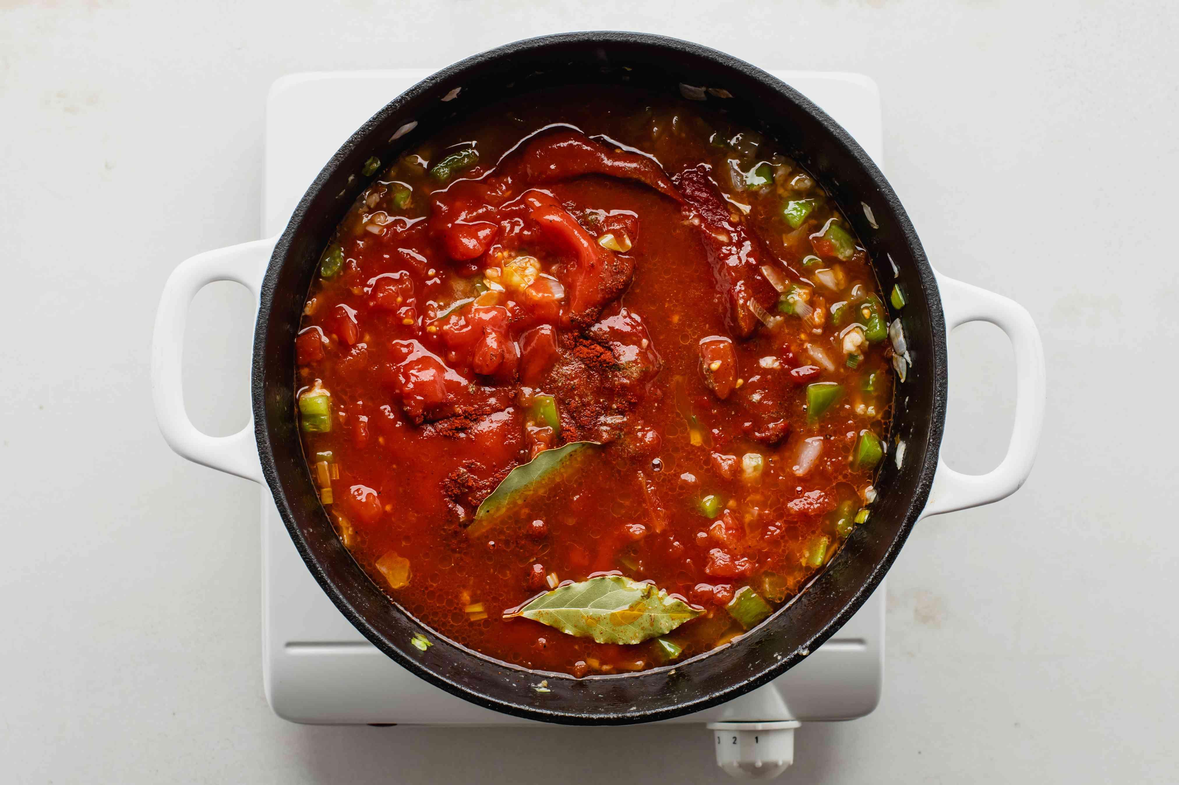Stir in diced tomato