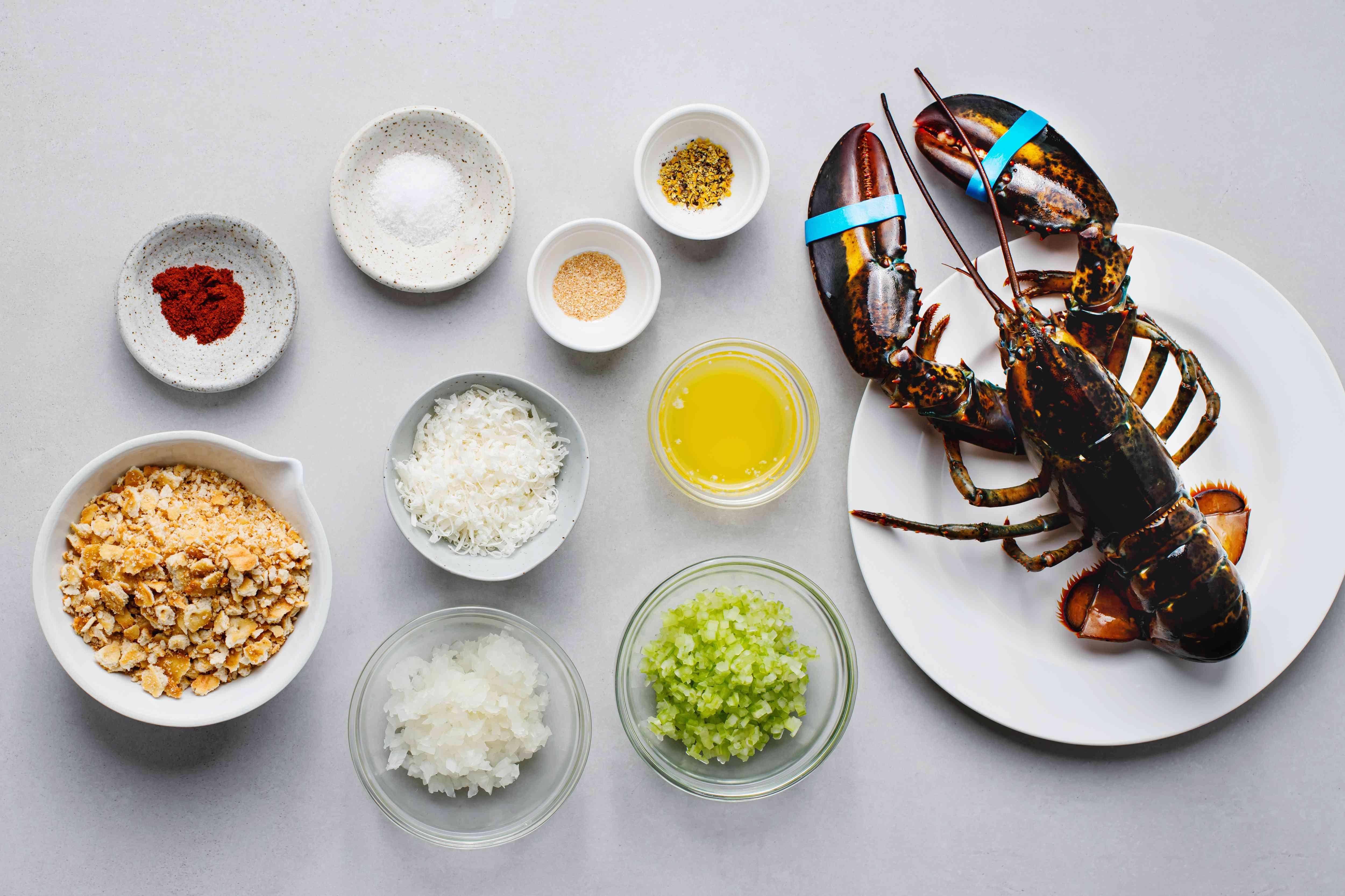 Easy and Elegant Baked Stuffed Lobster ingredients