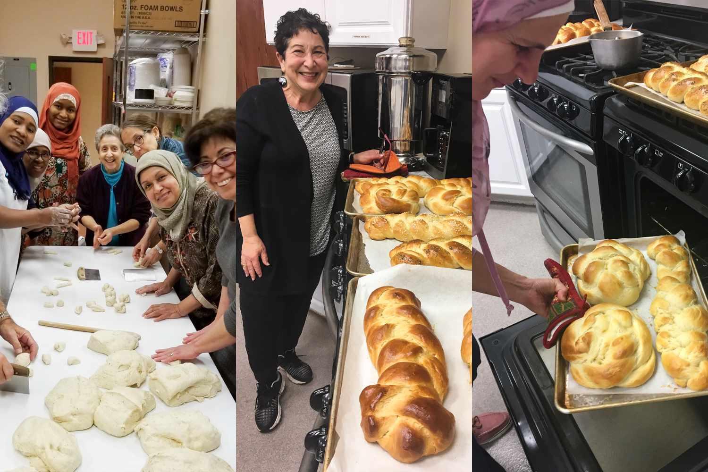 members of the sisterhood of salaam shalom learning to bake challah