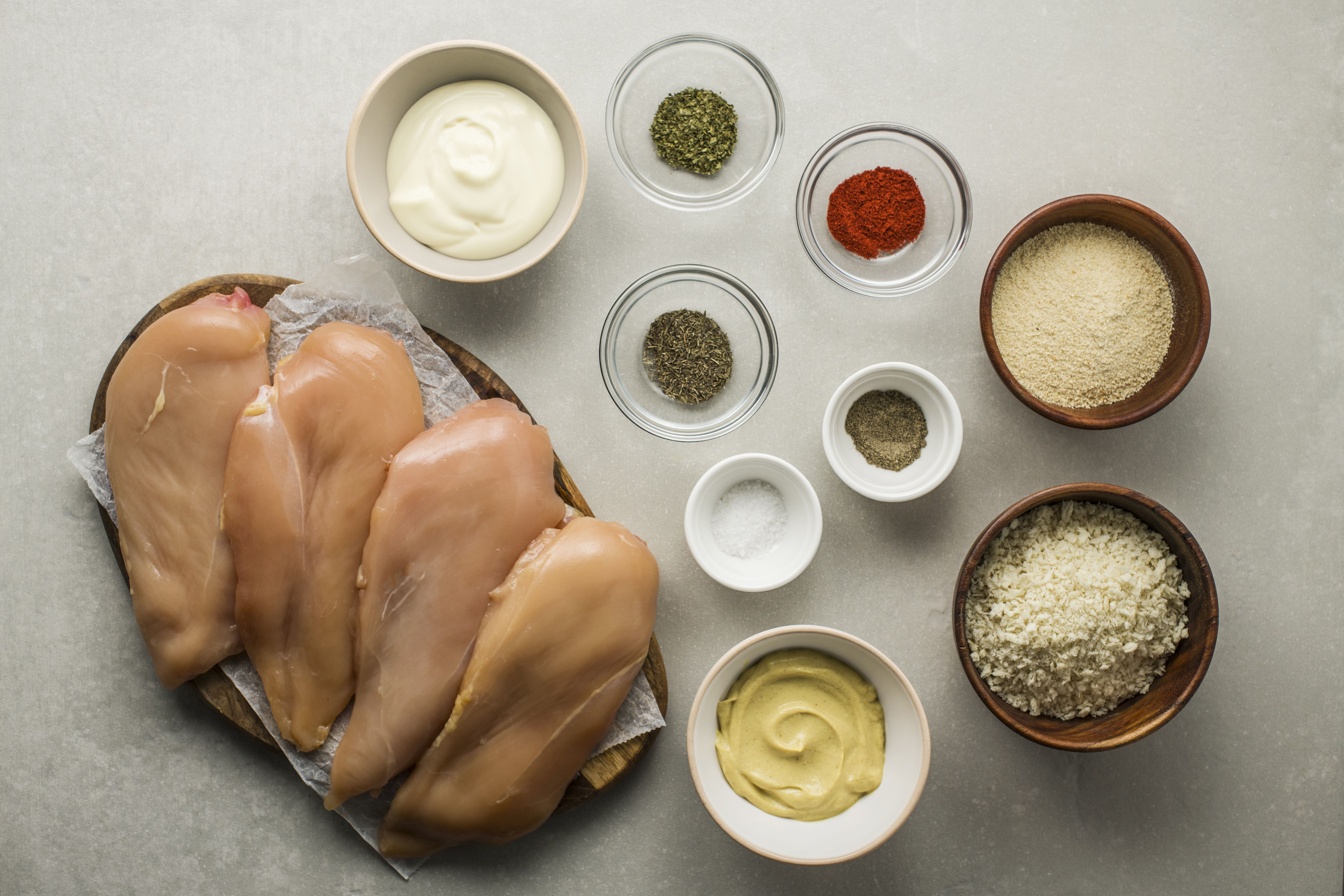 Ingredients for crispy panko coated chicken