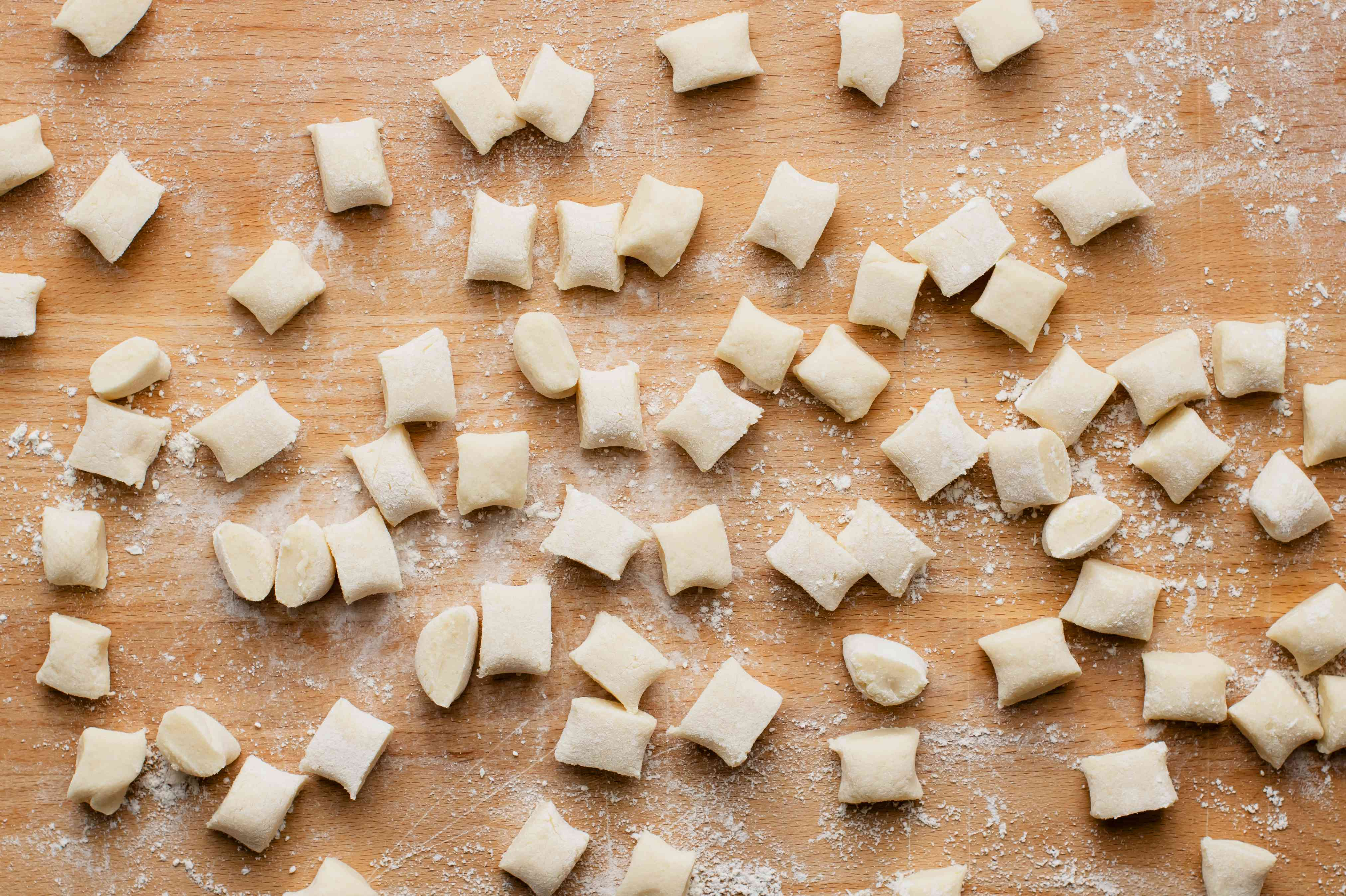 Small pieces of potato dough for gnocchi
