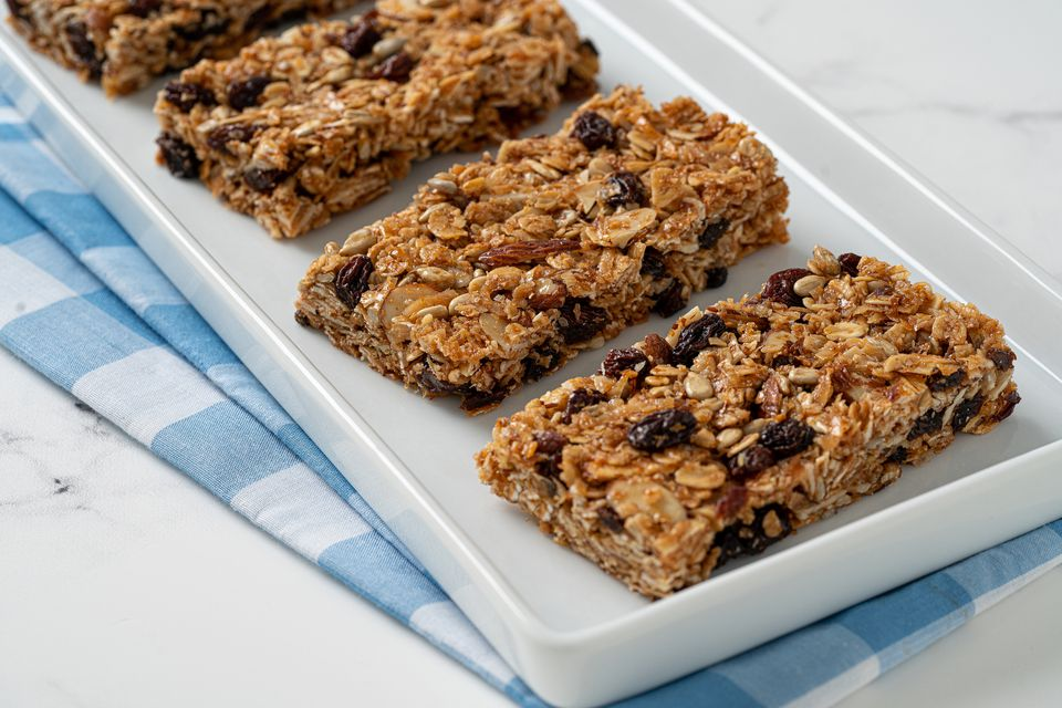 Granola bars on a white tray