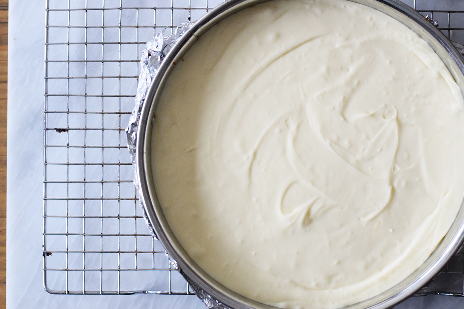 Cheesecake mix in pan