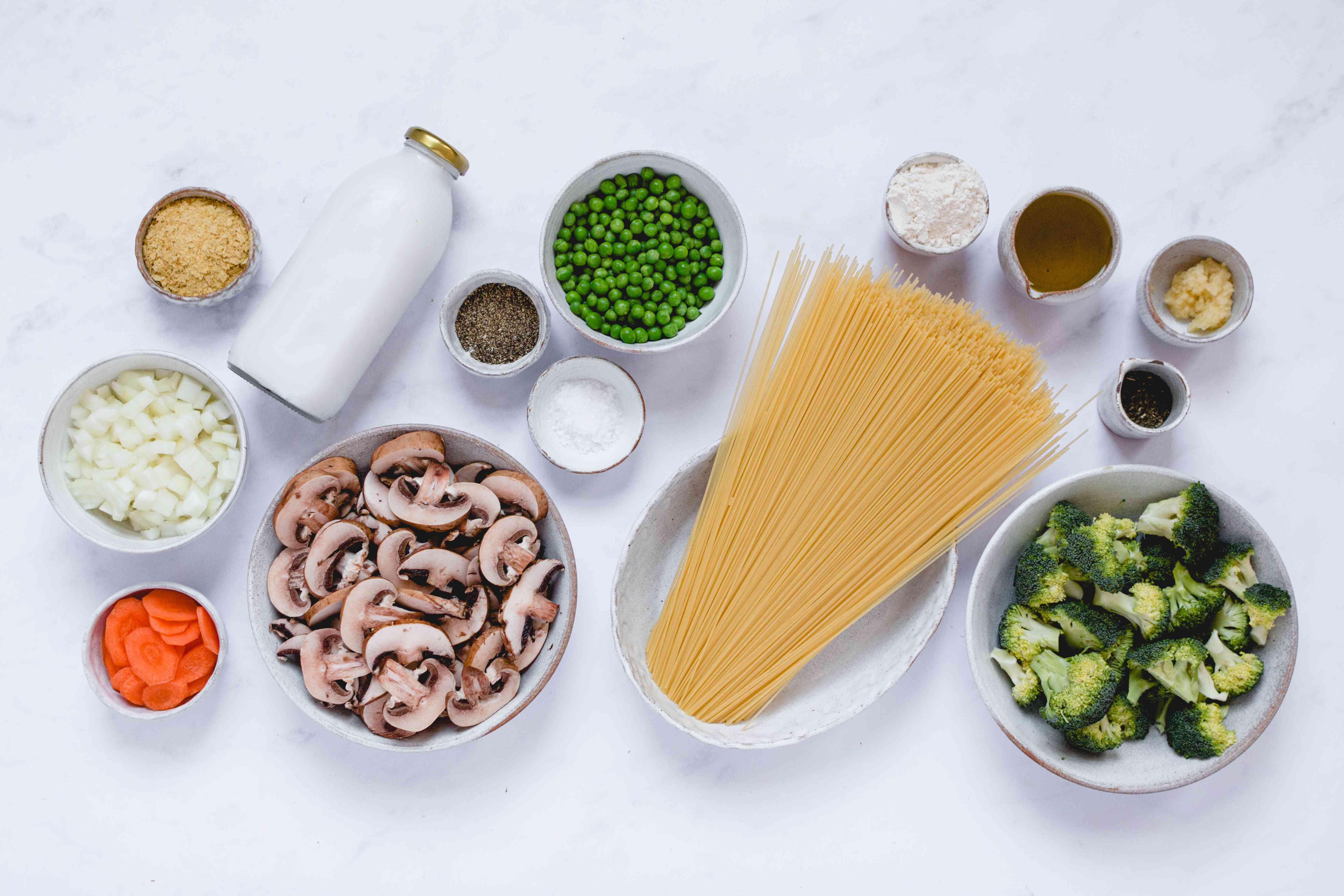 Vegan Angel Hair Pasta Primavera ingredients