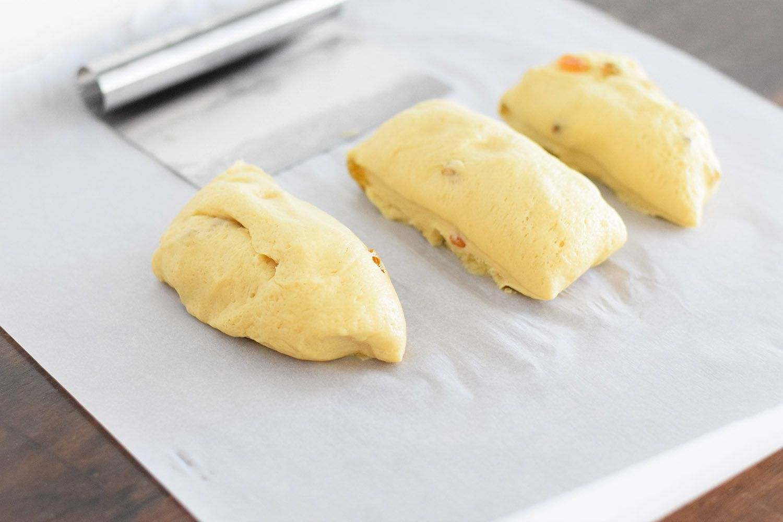 Divide the dough into three pieces