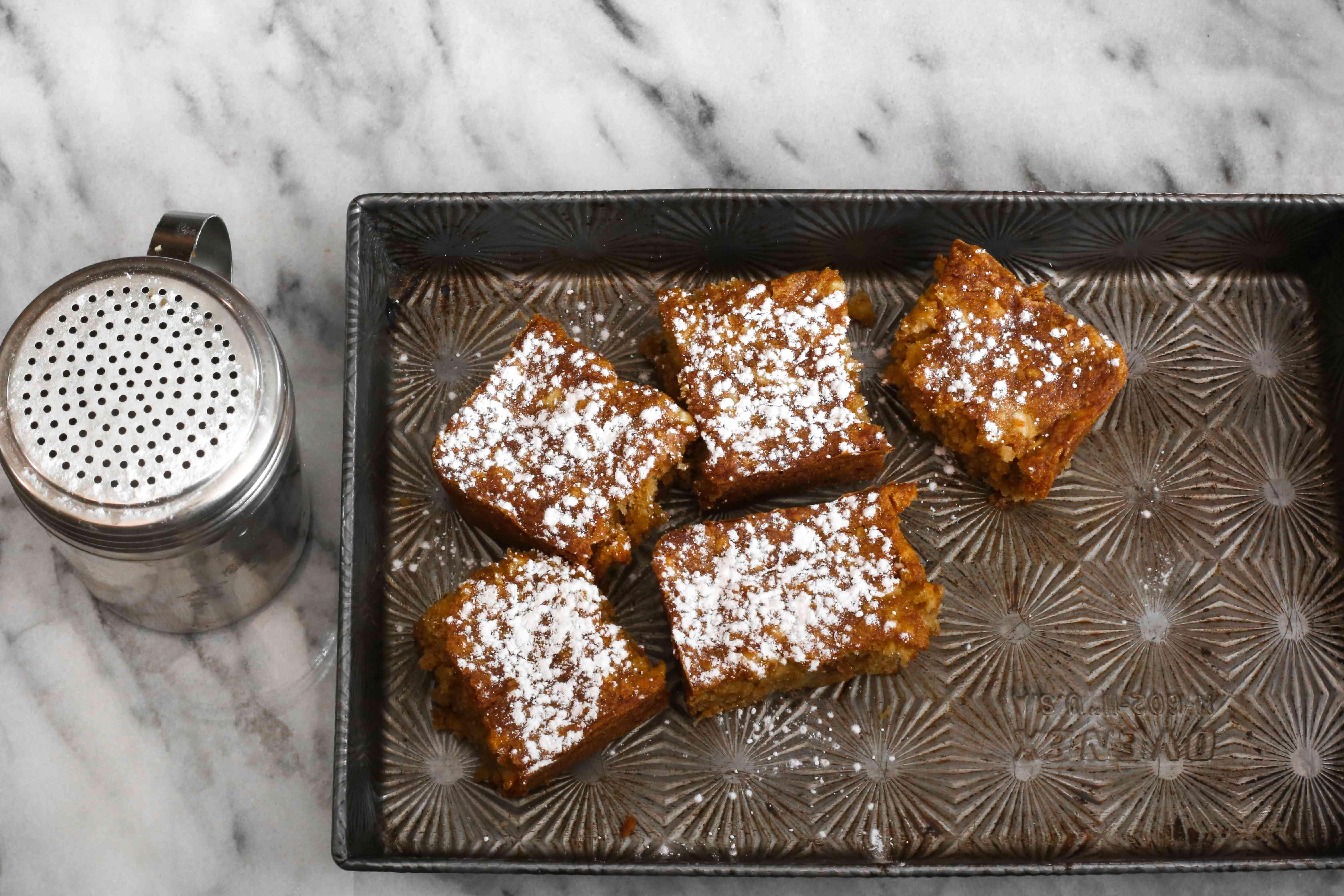 apple brownies on pan