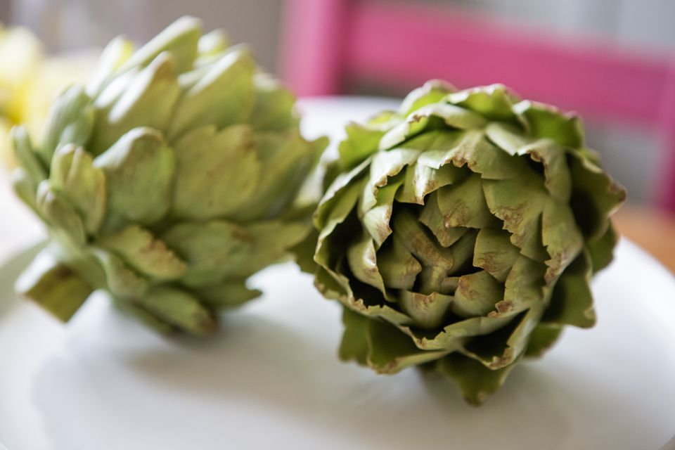 Two artichokes lying on a table