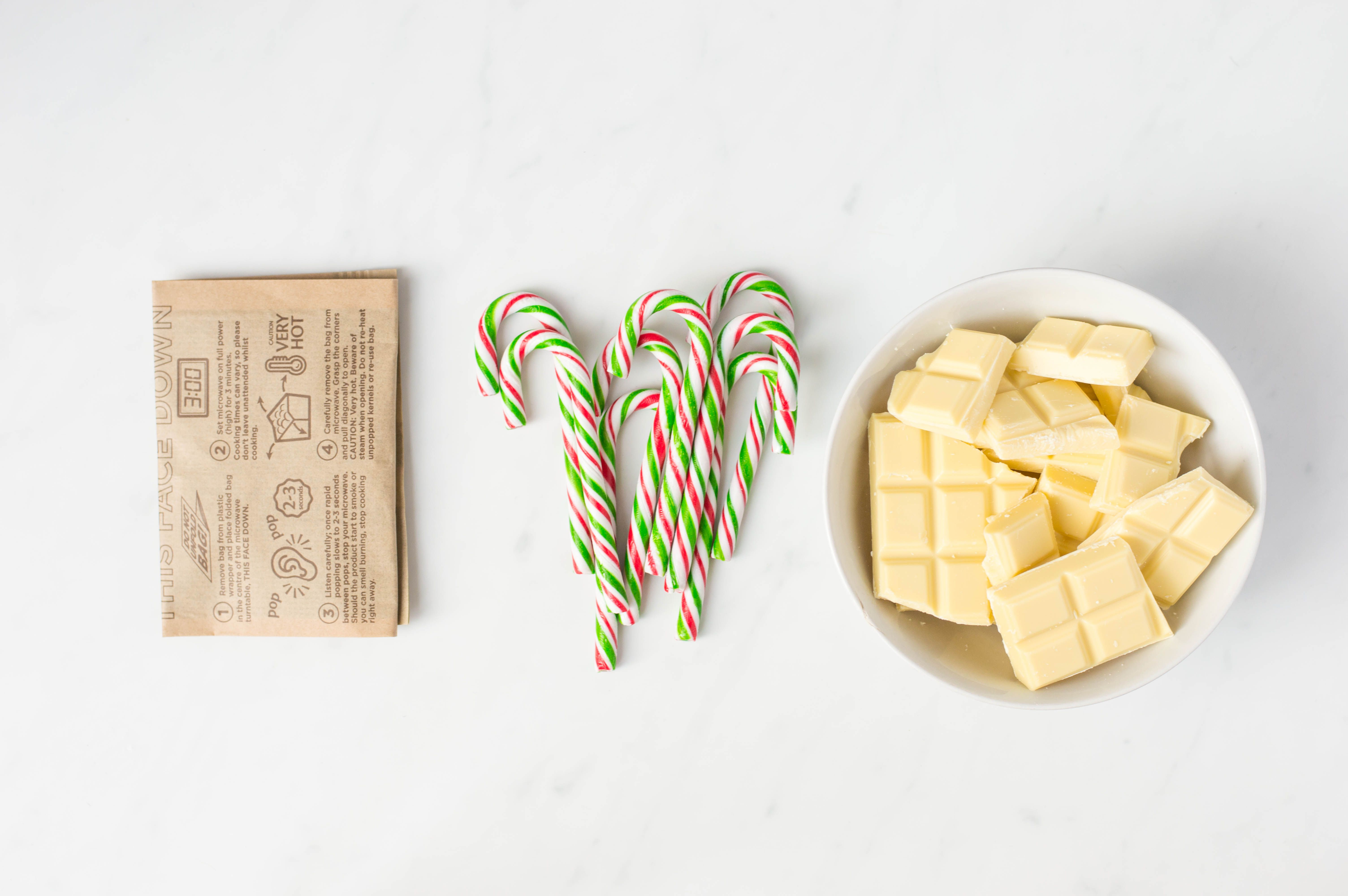 Ingredients for candy cane popcorn