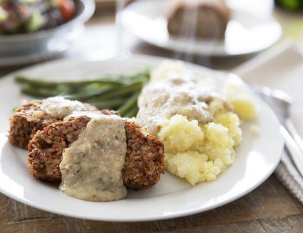 Vegan lentil loaf and mashed potatoes