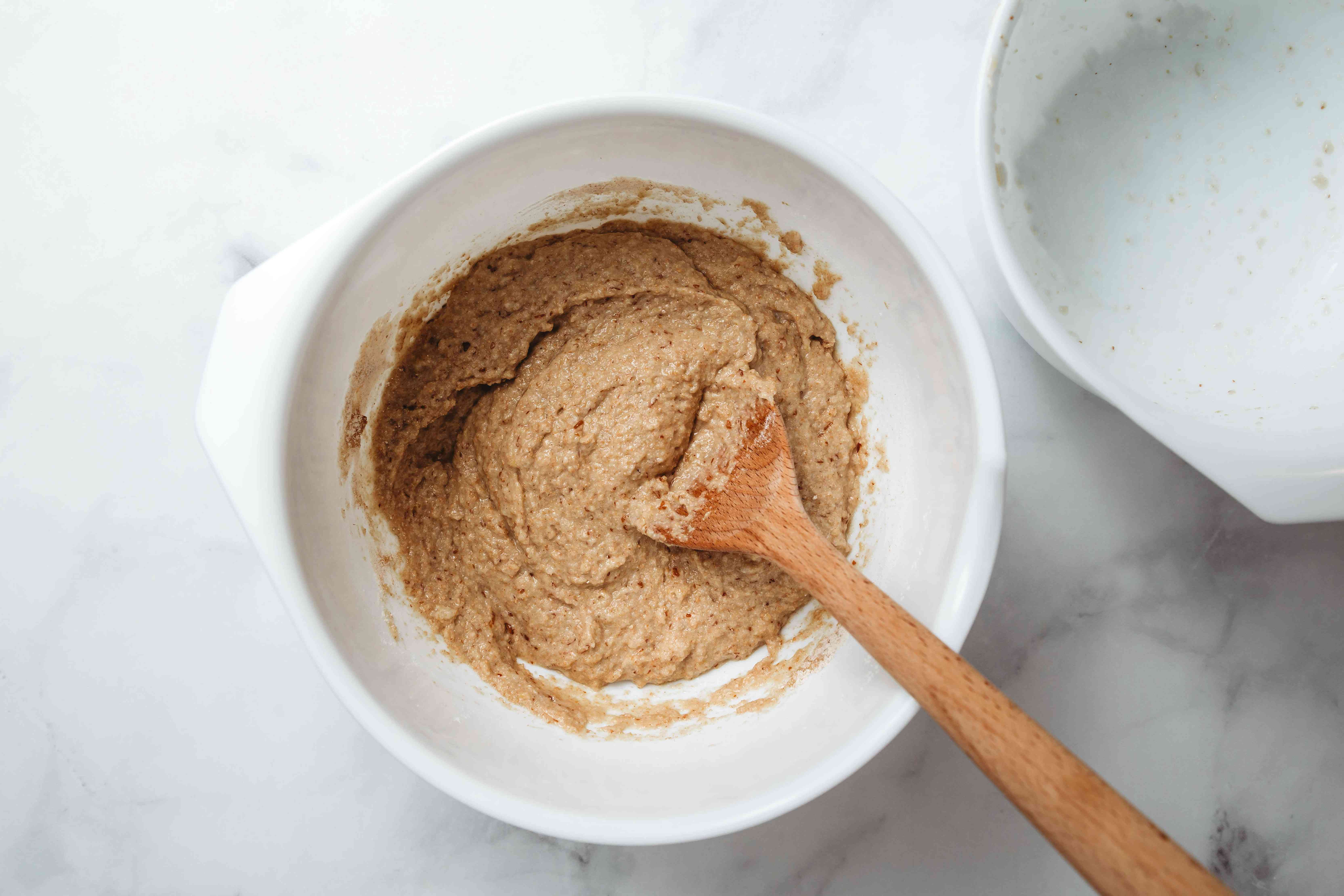 Add the applesauce mixture to the flour mixture