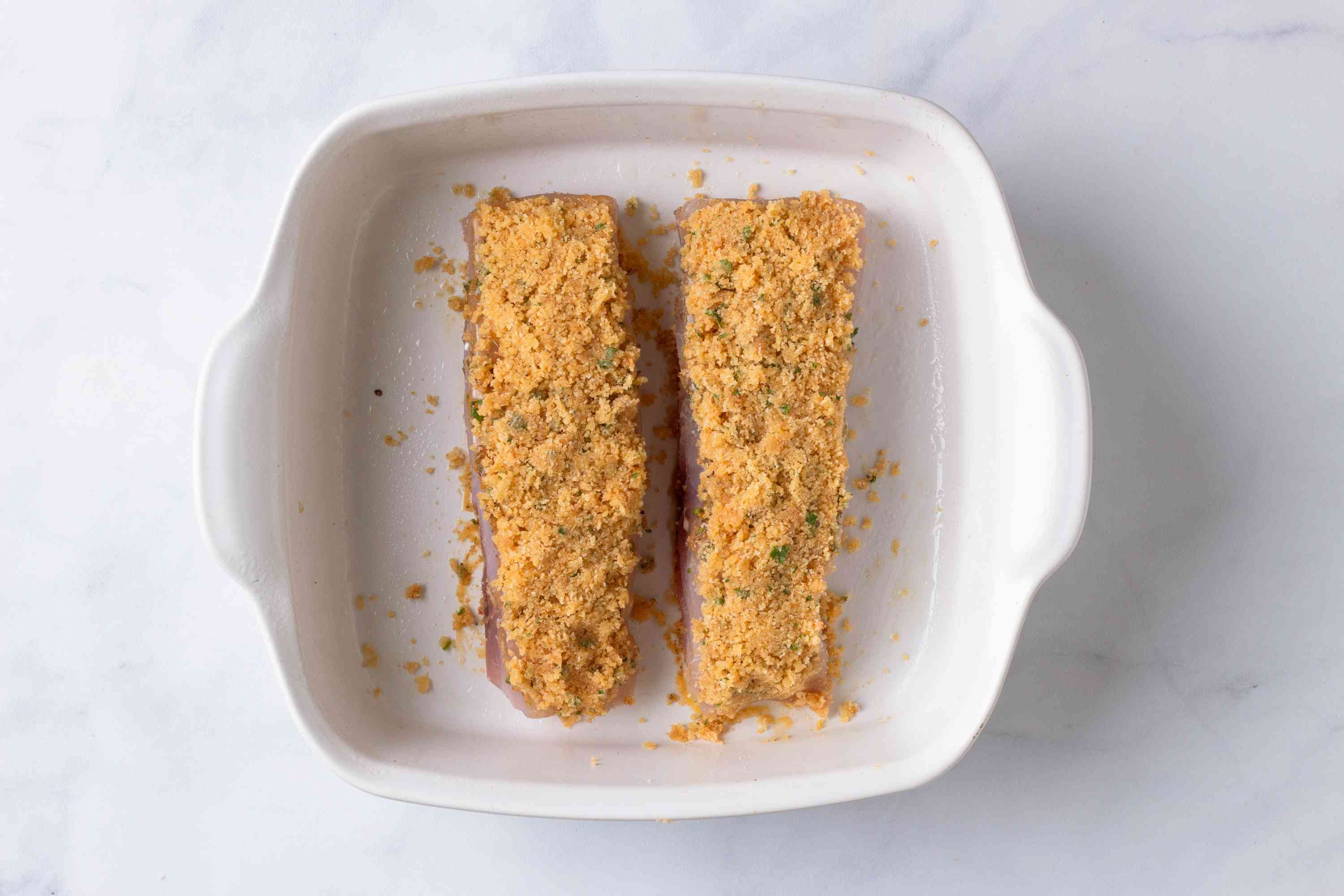 Red snapper fillets with breadcrumb mixture on top