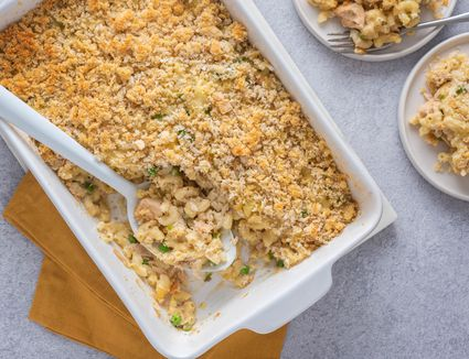 Tuna Macaroni Casserole in a white casserole dish