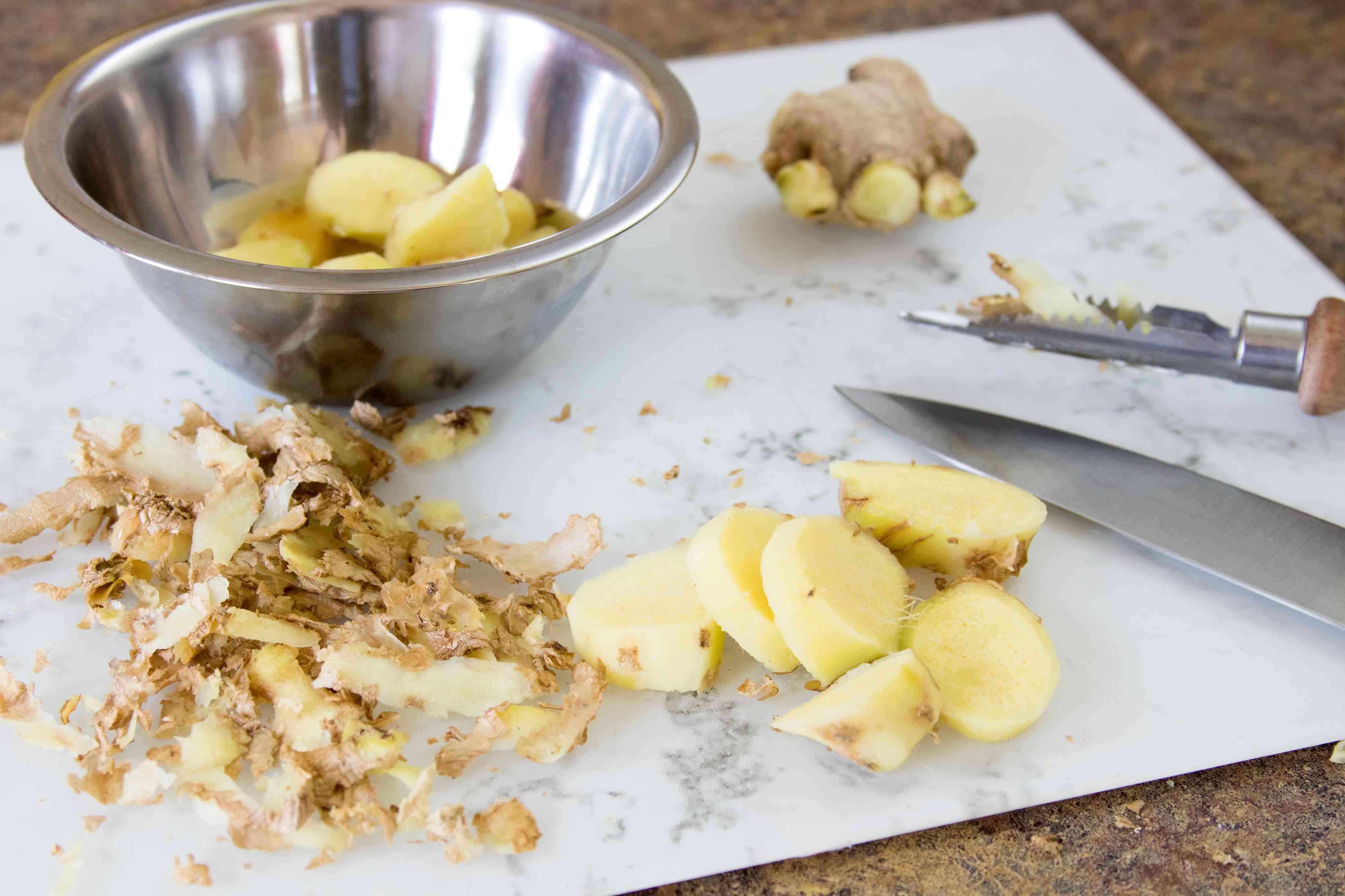 Preparing Fresh Ginger Root for Ginger Syrup