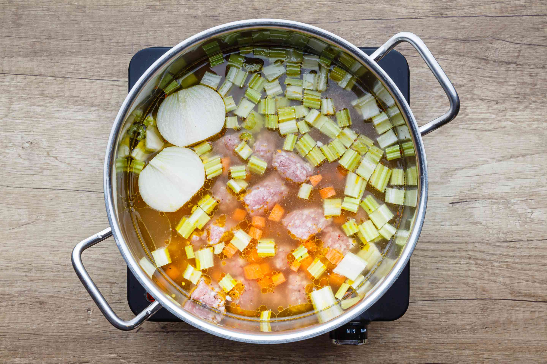 Add broth and onion