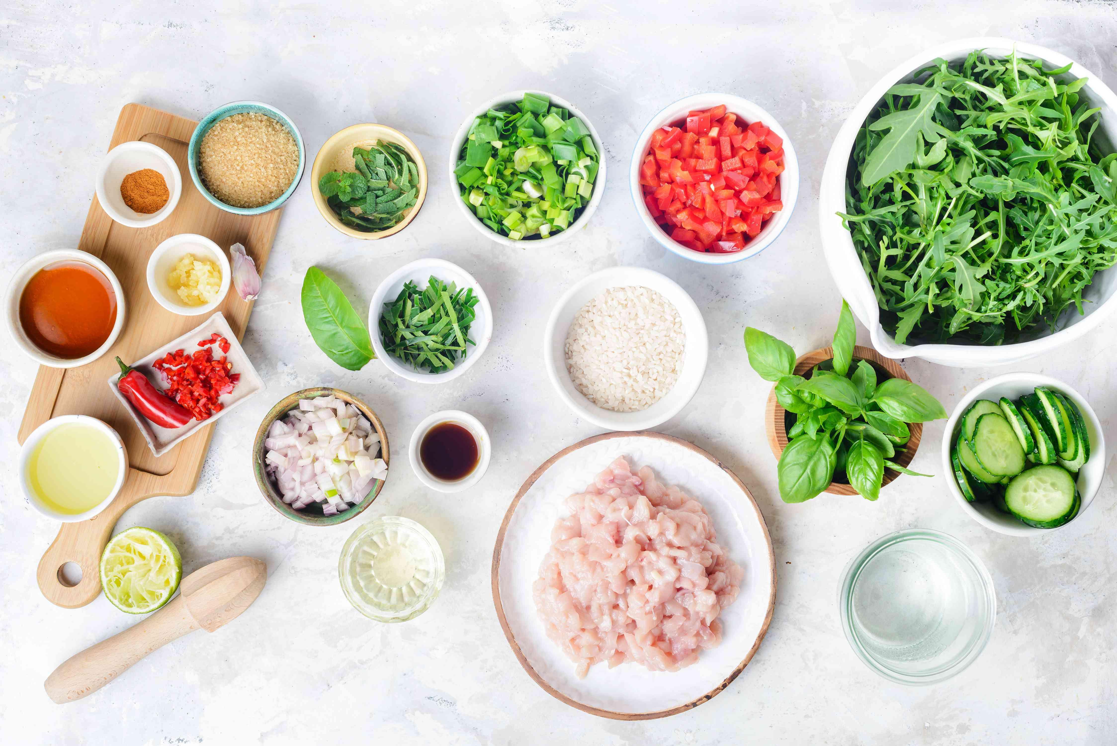 Ingredients for larb gai thai salad