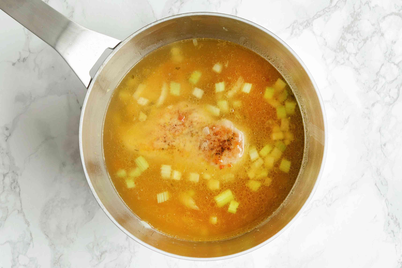 Add chicken and chicken broth to pot