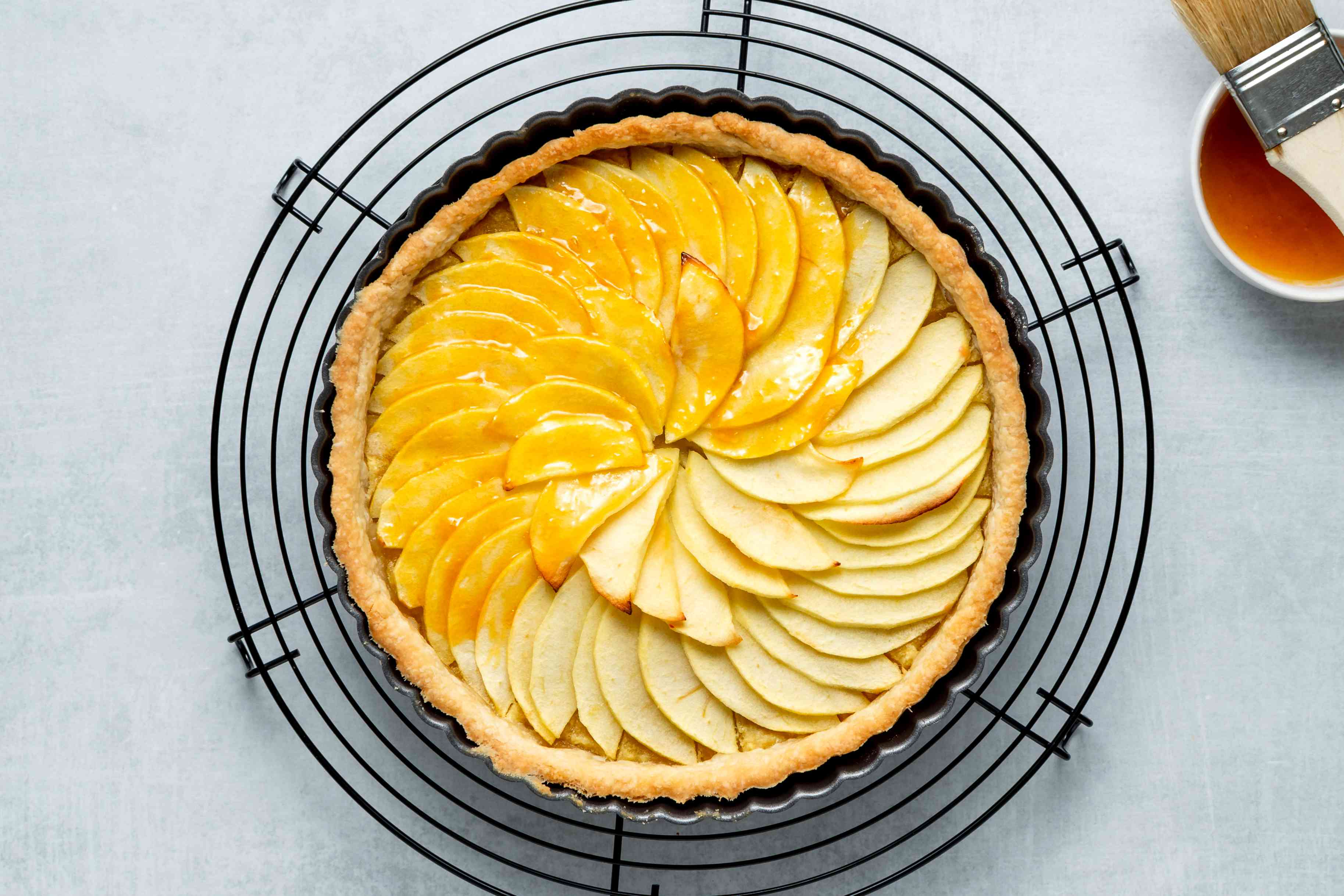Classic French Tarte Aux Pommes, brushed with the melted apricot jelly