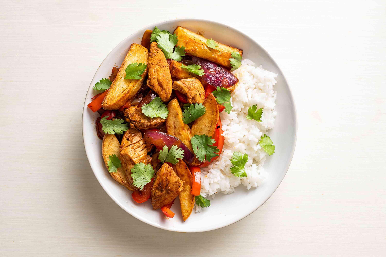 Pollo Saltado: Peruvian Chicken Stir-Fry, served with rice