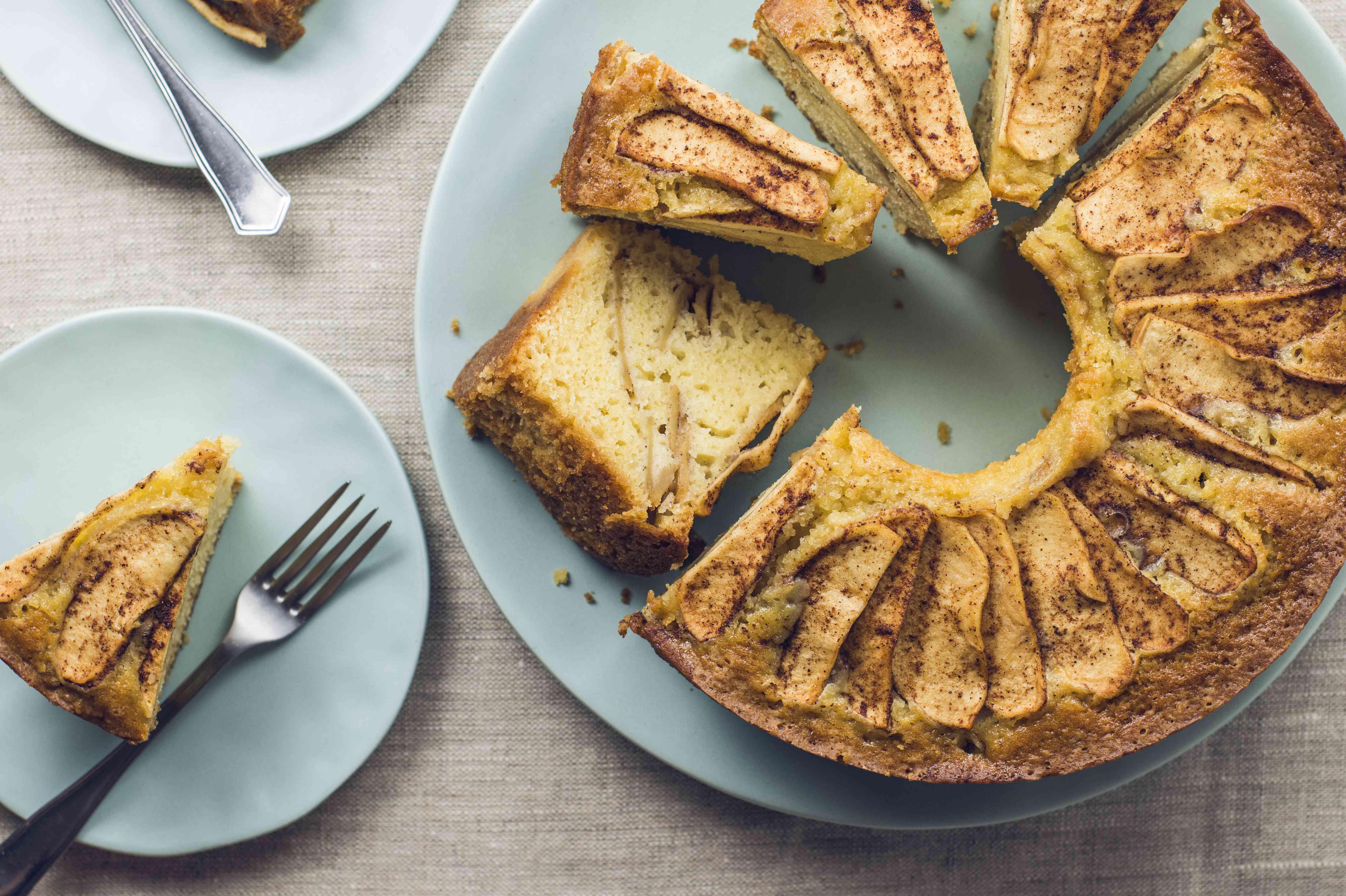 Jewish apple cake sliced for serving
