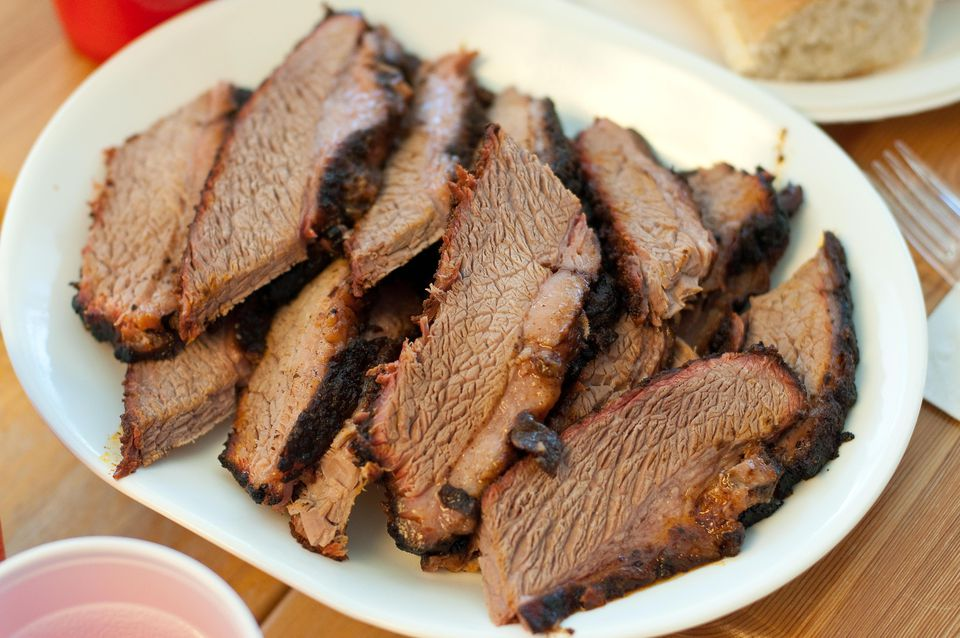 Sliced barbecued beef brisket