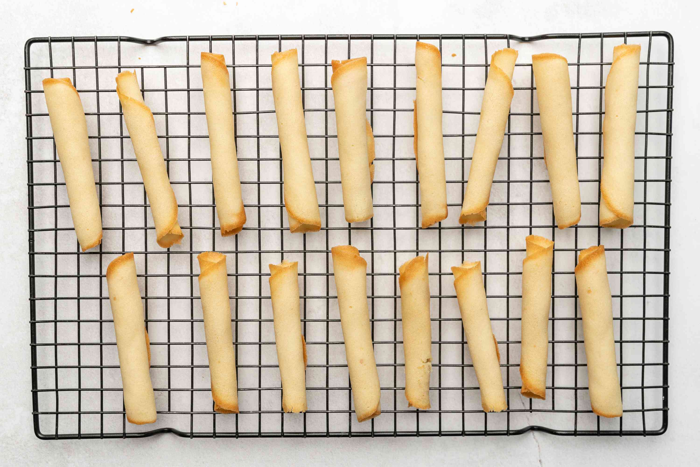 Czech Pirouette Cookies (Parizske Pecivo) on a cooling rack