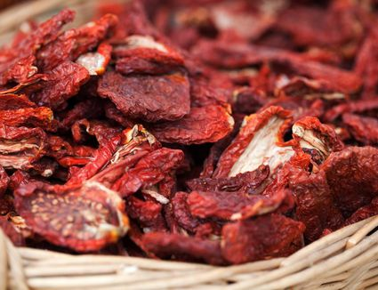 Sun dried tomatoes in basket