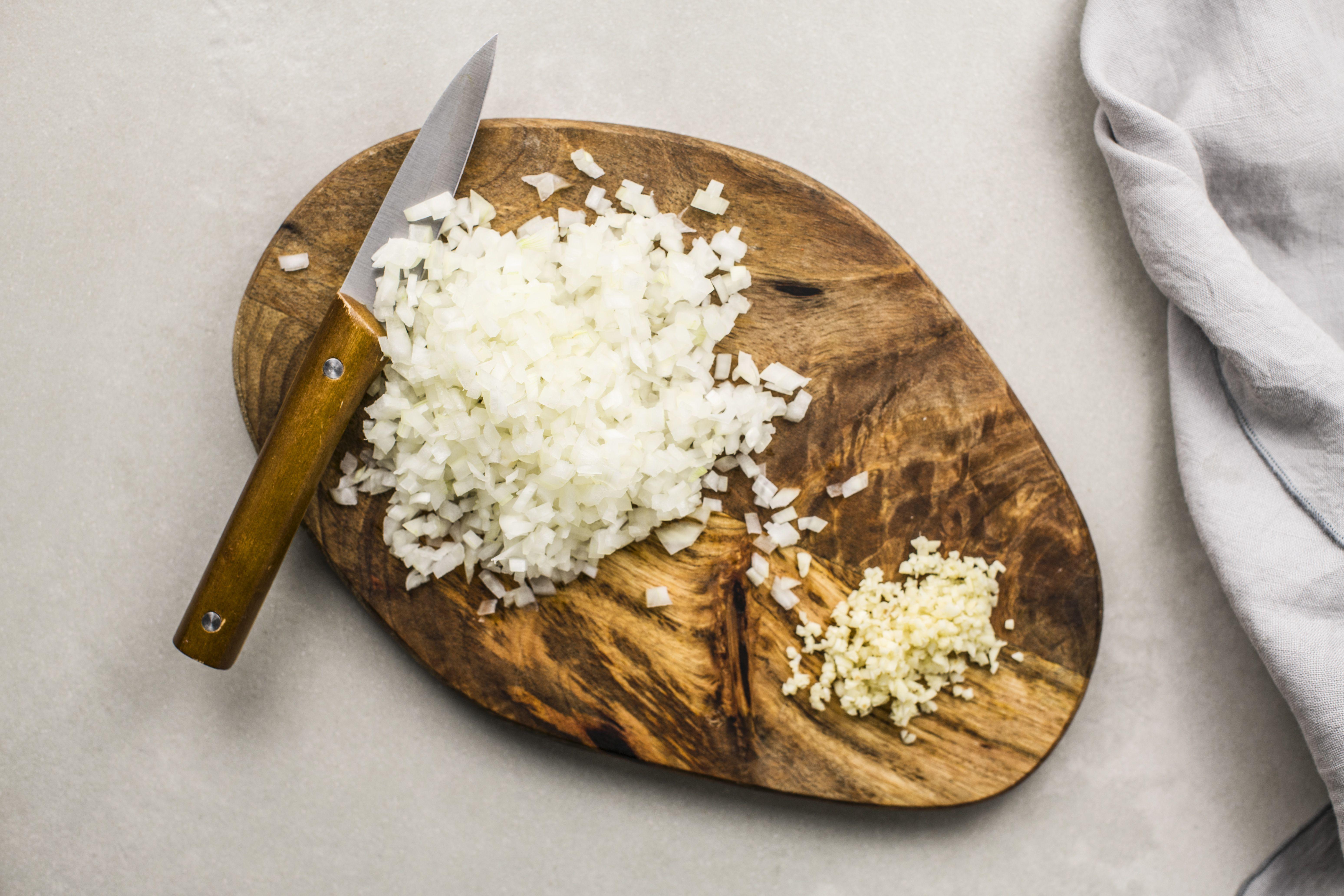 Chop garlic and onion