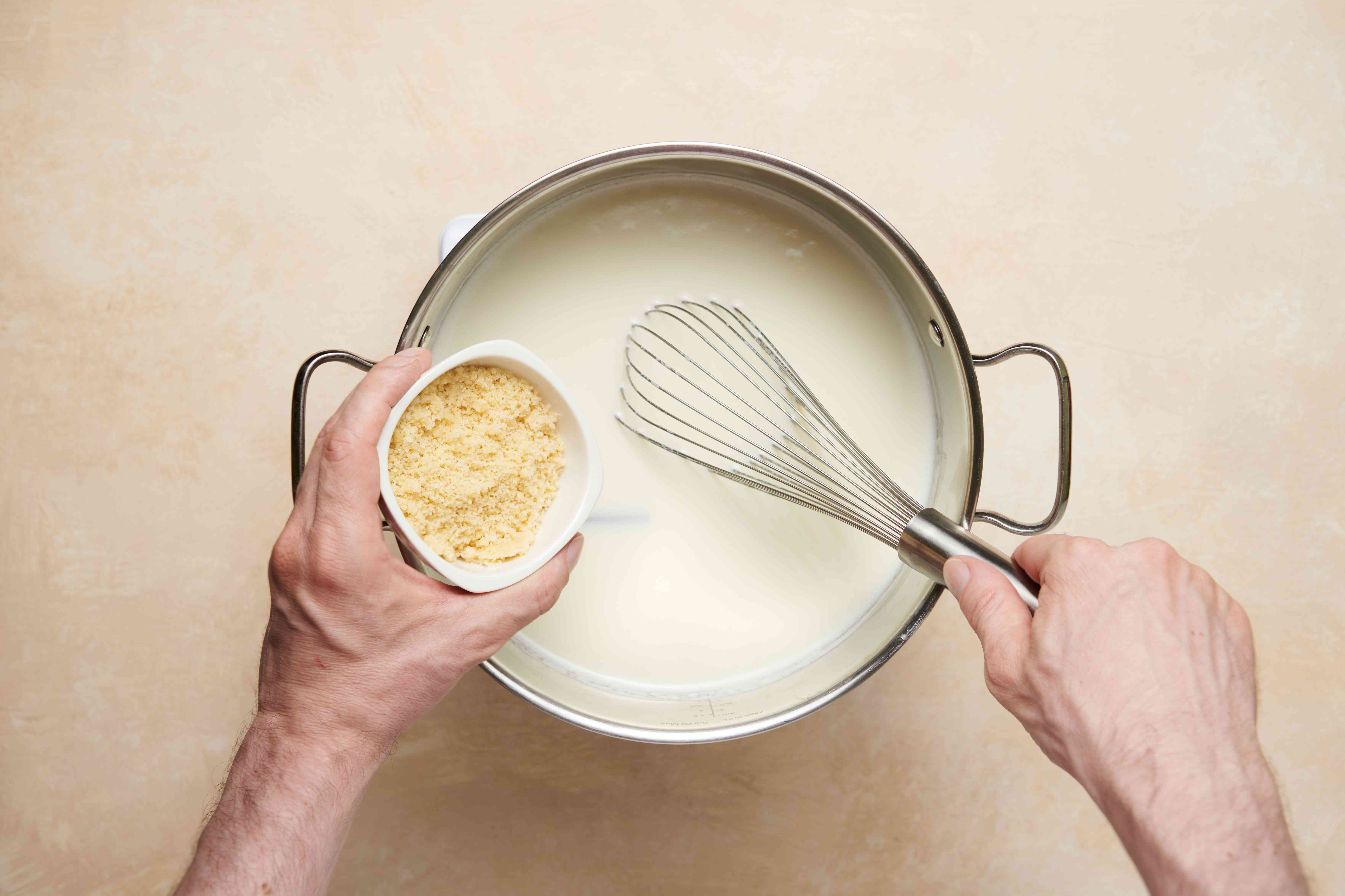 Whisk almond paste into milk mixture