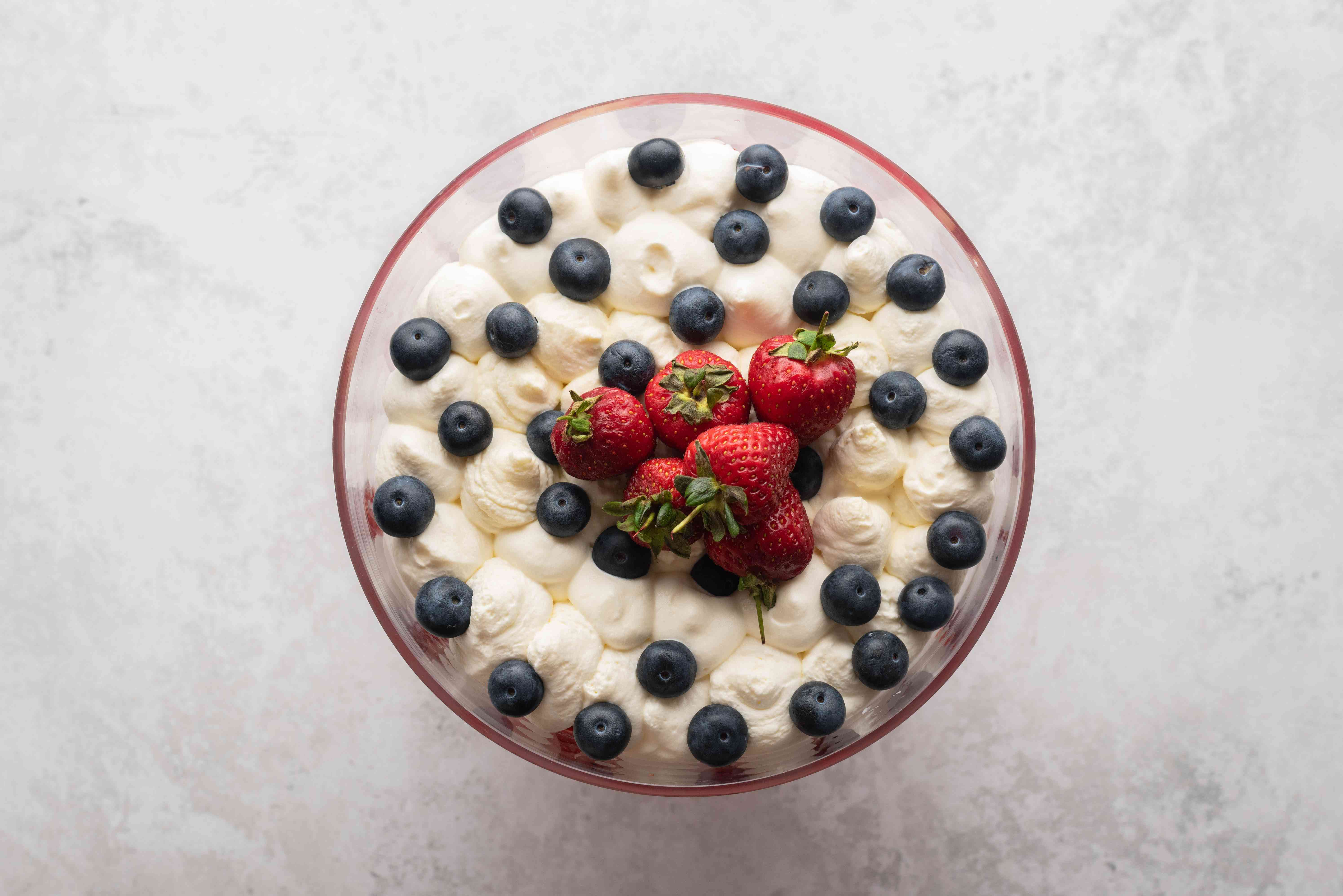 Classic Berry Trifle topped with berries
