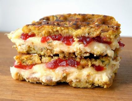 Stuffing-Waffle Grilled Cheese With Thanksgiving Leftovers