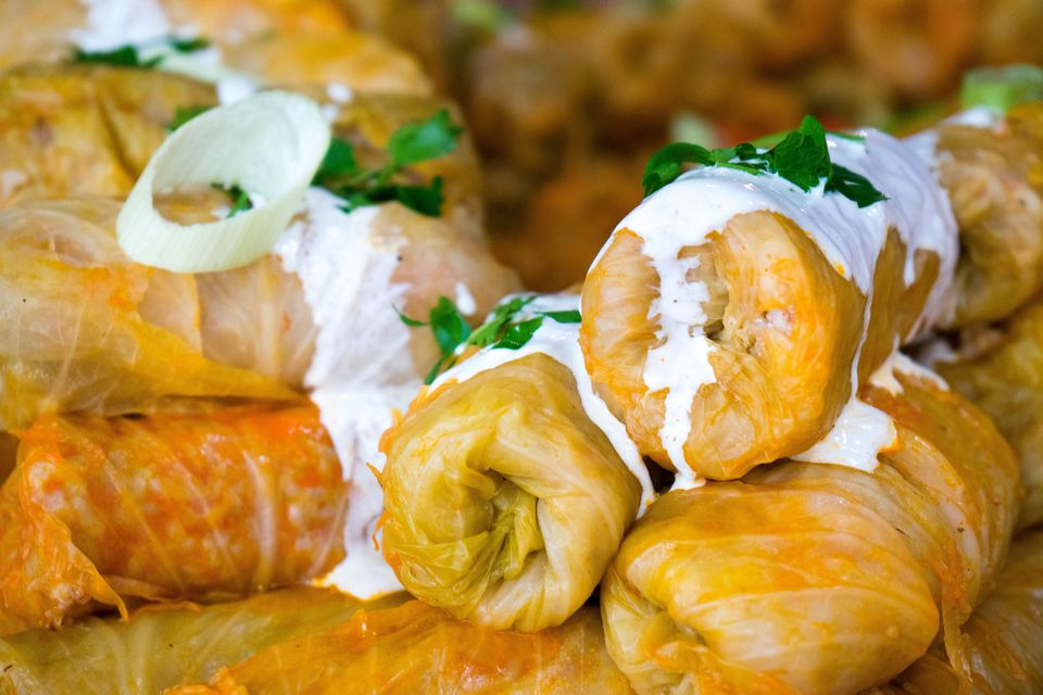 Close up of Stuffed Cabbage with Sour Cream