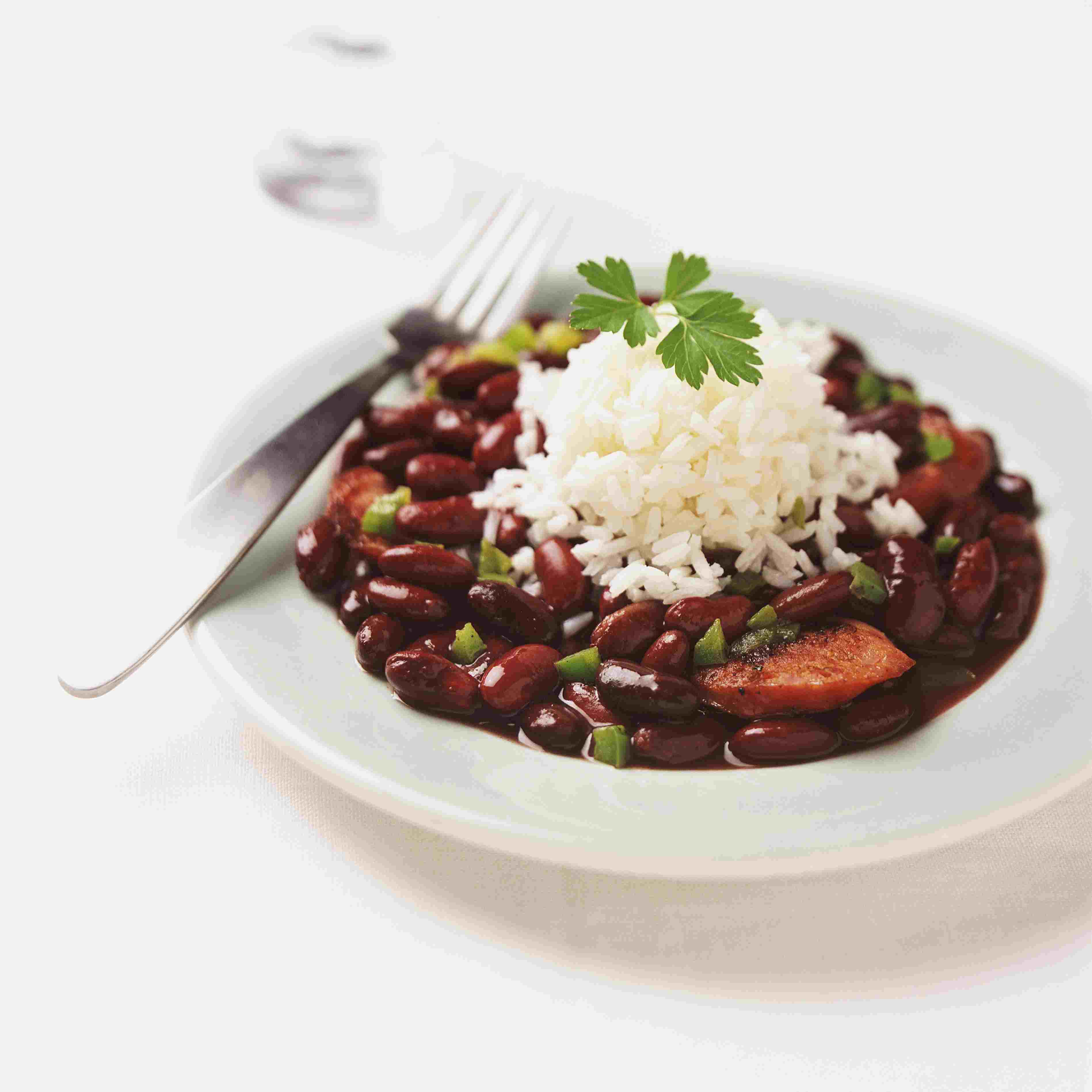 Plate With Chorizo, Red Kidney Beans and Rice