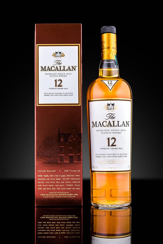 Bottle and case of Macallan single malt whisky