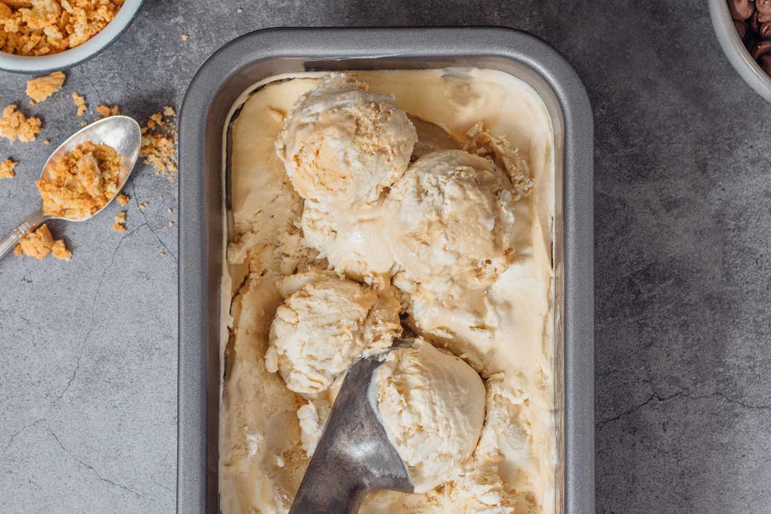 No Churn Coffee Ice Cream in a loaf pan