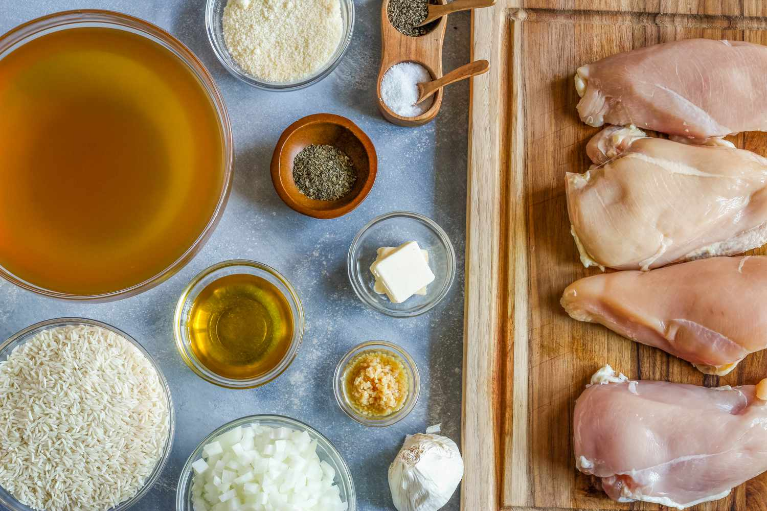 Ingredients for chicken risotto