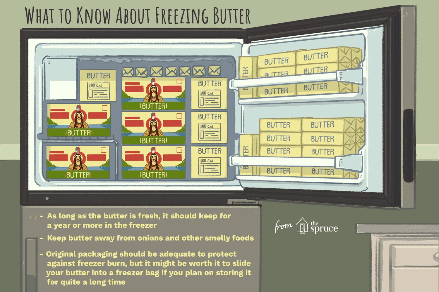 illustration that shows what you need to know about freezing butter